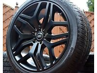 """NEW 22"""" GENUINE RANGE ROVER STYLE 17 BLACK STEALTH EDTN ALLOY WHEELS& BRAND NEW CONTINENTAL TYRES"""