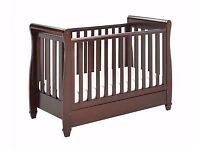 Please for Urgent Sale !!Babymore Eva Sleigh Cot Bed Dropside with Drawer + FOAM MATTRESS
