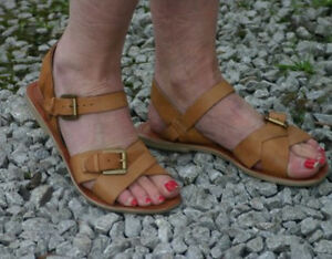 WOMENS-LADIES-TAN-BROWN-COMMANDMENT-FLAT-OFFICE-LONDON-LEATHER-SANDALS