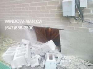 concrete windows sliding egress Cut brick door  Supply Install