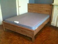 Ikea Aspelund double bed with mattress - antique pine - bargain!