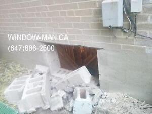 egress sliding concrete windows Cut door brick  17 years of expe