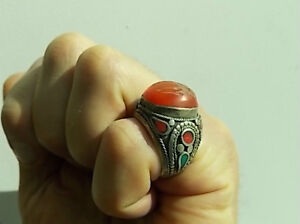 UNIQUE LARGE TRIBAL CARNELIAN ENGRAVED RING Windsor Region Ontario image 1