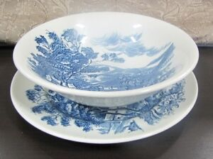 vintage Wedgewood countryside plate and bowl- Flow blue