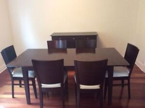 Modern Dining Table Set With 6 Chairs And Buffet