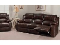 Dark Brown leather 3+2 seater reclining sofas, 100% leather. Free to view anytime