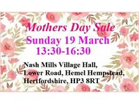 sun 19th march 1:30-4:30 mothers day sale & car boot nash mills village hall