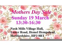 Sun 19th march 13:30-16:30 mothers day table top & boot sale nash mills village hall hemel hempstead