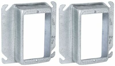 Lot Of 2 Mud Ring Raco Steel 1-14 In. Raised 4 In. Square Outlet Box Single