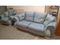 real leather chesterfield baby blue sofa and chair