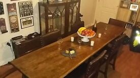 Vintage 8ft Oak Original Refectory Table stamped AM Crown 1938 and six leather cromwell chairs