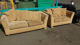Beige 3 and 2 seater sofa
