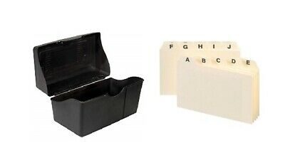 Black Index Card Holder With Alphabetic Guide Set Built In Ridges Secure 8x5