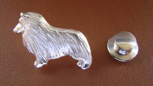 Small Sterling Silver Sheltie  Shetland Sheepdog Standing Study Lapel Pin