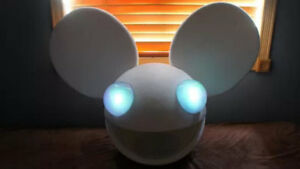 deadmau5 helmet head in white halloween costume with lights dead mouse costume - Deadmau5 Halloween Head