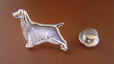 Springer Spaniel Pin (Small Sterling Silver English Springer Spaniel Standing Study Lapel Pin )