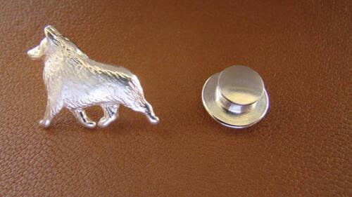 Small Sterling Silver Schipperke Angel Lapel Pin