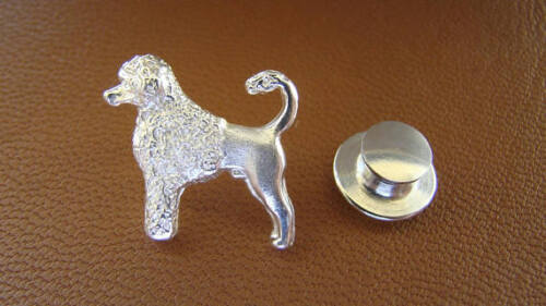 Small Sterling Silver Portuguese Water Dog Standing Study Lapel Pin