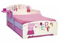 Peppa pig toddler bed with under bed storage, mattress included