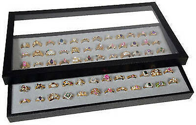 Ring Display Case Acrylic Removable Top Jewelry Organizer 72 Slot Foam Insert