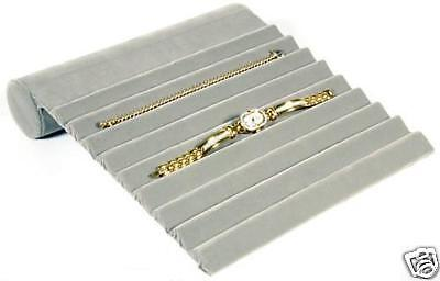 Gray Velvet Bracelet Display Stand Jewelry Watch 9 Slot