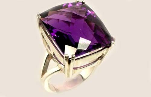Handcut Gemstone 23½ct Scotland Amethyst in Sterling Silver Ring