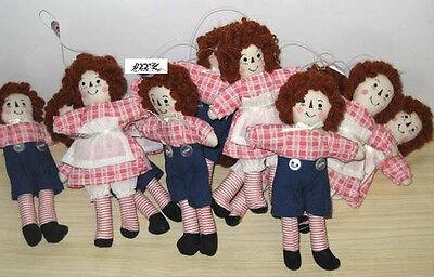 "Set of 12 Miniature Raggedy Ann and Andy Dolls Rag Doll Ornament Ornie 5"" New"