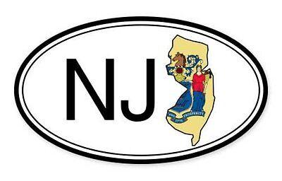 New Jersey State Flag Oval Car Vinyl Sticker - SELECT SIZE