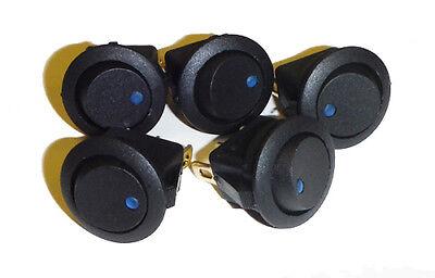 5Pcs 12V 16A Blue LED Rocker Round Switch Toggle On-Off Control SPST (Swt Rocker)
