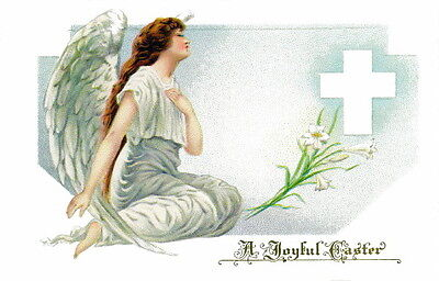 Vintage Easter Art~Beautiful Easter Angel~Lilies~Cross~NEW Large Note Cards