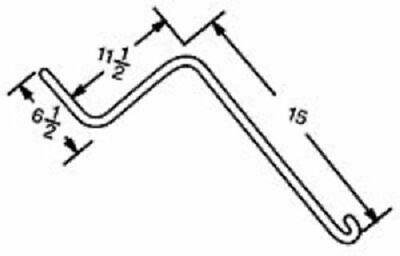 Otma Wheel Rake Tine 6.5 X 11.5 X 15 Curved End W 0.281 Thick Wire Ot1a