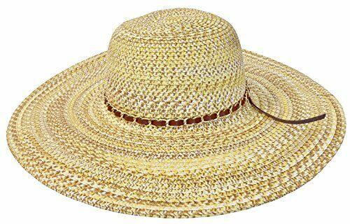 MYTEM-GEAR Damen Strohhut Sonnenhut mit großer breiter Krempe und Schmuckband
