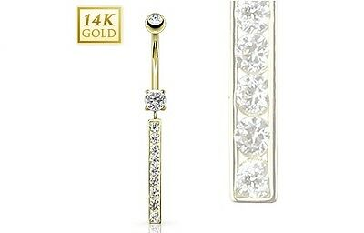 14K. Solid GOLD BELLY Button NAVEL RING Body Piercing Jewelry *CLEAR GEM BAR ()