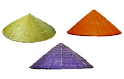 Coolie Hat Straw Conical Cap Chinese Pointed Halloween Costume Asian Farmer NEW