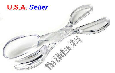 Plastic Serving Spoons (Salad Serving Tongs Plastic Clear Scissor Separates to Spoon & Fork (Free)
