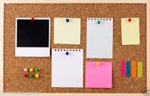 Attractive Cork Notice Board Pin Board Corkboard Memo Frame Office+FREE PUSH PINS!