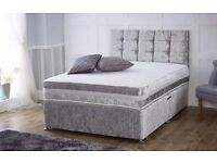 *****BRAND SPANKING NEW FACTORY SEALED**** **DOUBLE SIZE** Divan Set in Silver crushed velvet*