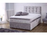 💥💥****BRAND SPANKING NEW FACTORY SEALED*** **DOUBLE SIZE** Divan Set in Silver crushed velvet*💥💥