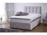 *****BRAND SPANKING NEW FACTORY SEALED**** **DOUBLE SIZE**Vienna Divan Set in Silver crushed velvet*