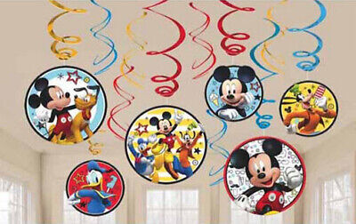 Mickey Birthday Decorations (DISNEY MICKEY MOUSE Roadster Racers birthday party HANGING SWIRL DECORATIONS)