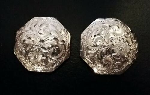 """2 - 1 1/4"""" Sterling Overlay Hand Engraved Octagon Conchos"""