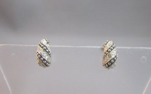 Sterling silver with rhodium, vermeil and cz small half hoop earrings