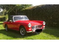 MG Midget 1970 Tax exempt. 1275cc in flame red.