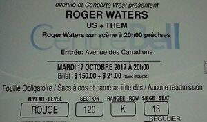 Roger Waters Us+Them centre Bell Montréal 17 Octobre 2017
