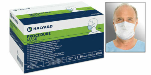 50 HALYARD SURGICAL PROCEDURE MASKS BOX OF 50 NIB EARLOOP BLUE SO-SOFT EARLOOPS
