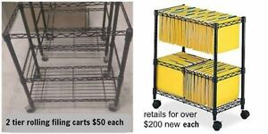 2 rolling filing carts with 2 shelves Windsor Region Ontario image 1
