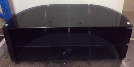 TV UNIT - modern curved model in black tinted glass Warriewood Pittwater Area Preview