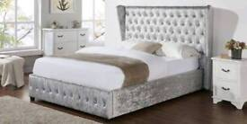 Fast Delivery Crushed Velvet Double Bed / Memoryfoam Mattress Pay on Delivery