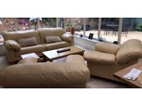 John Lewis cream leather Sofa and 2 armchairs