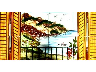 DECORATIVE CERAMIC TILES: Swiftly PAINTED MOSAIC KITCHEN BATH PATIO Get together Block MURAL